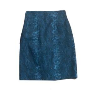 Eli Tahari blue snakeskin skirt